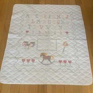 Handcrafted Baby Blanket Embroidered Alphabet